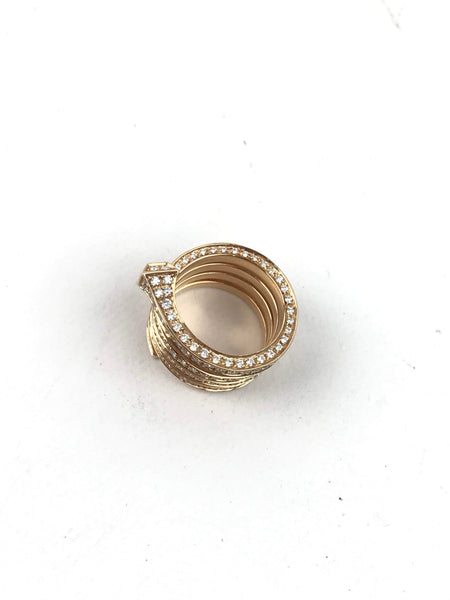 18k Gold Chiodo Horseshoe Nail Ring W/ Brilliant Pave Diamonds - Haute Classics