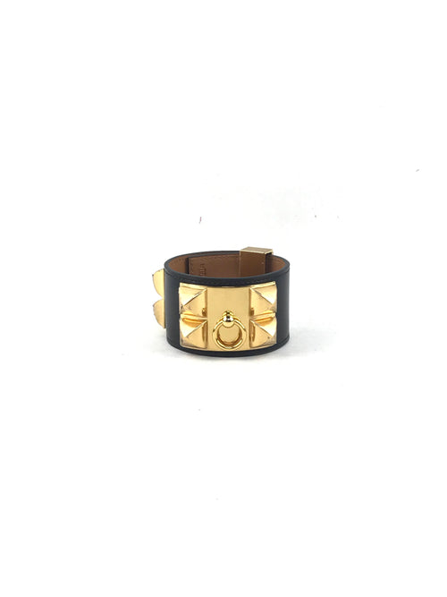 Black Leather Collier De Chien Bracelet W/GHW