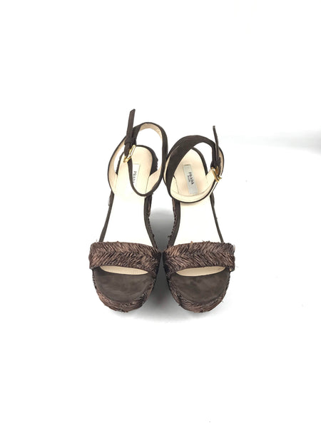 Brown Straw Wedge Sandals W/ GHW