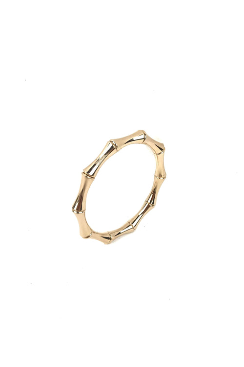 18k Yellow Gold Bamboo Stretch Bangle Size 17 - Haute Classics