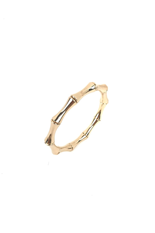 18k Yellow Gold Bamboo Stretch Bangle Size 16 - Haute Classics