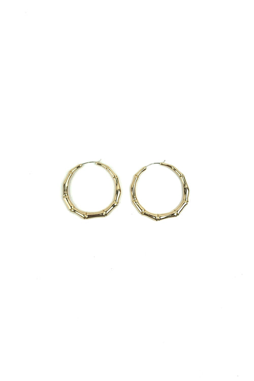 Rose 18k Yellow Gold Bamboo Hoop Earrings