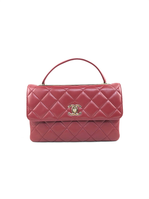 Red Quilted Trendy CC Flap Bag W/GHW