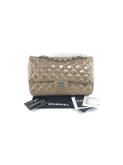Camel Beige Quilted Patent Leather Medium Classic Double Flap Bag W/RHW