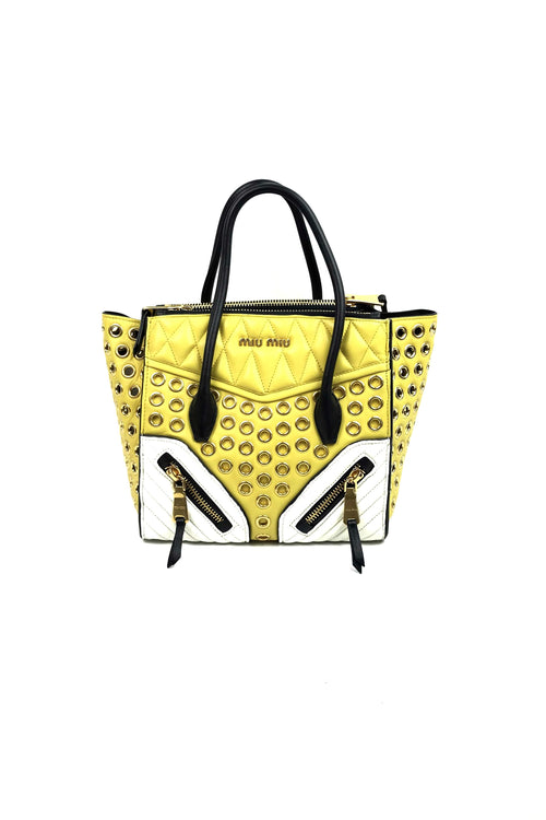 Yellow/Black/White Biker Tote w/ Gold Stud Accents w/GHW