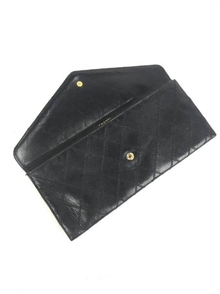 Quilted Black Vintage Envelope Long Wallet W/GHW