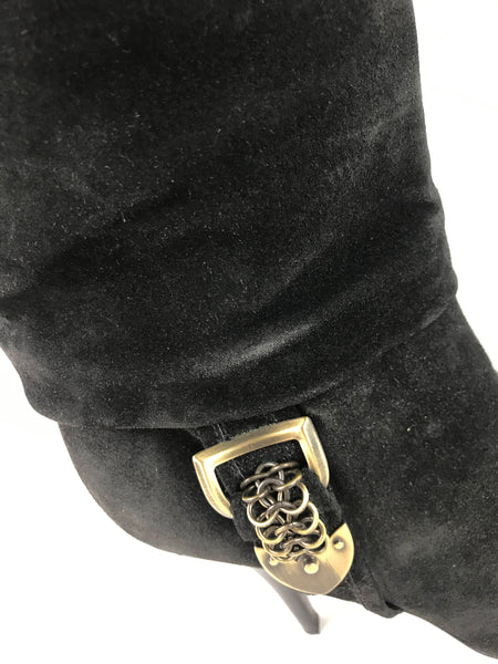 Black Ruched Suede Knee-High Boots W/ GHW Buckle