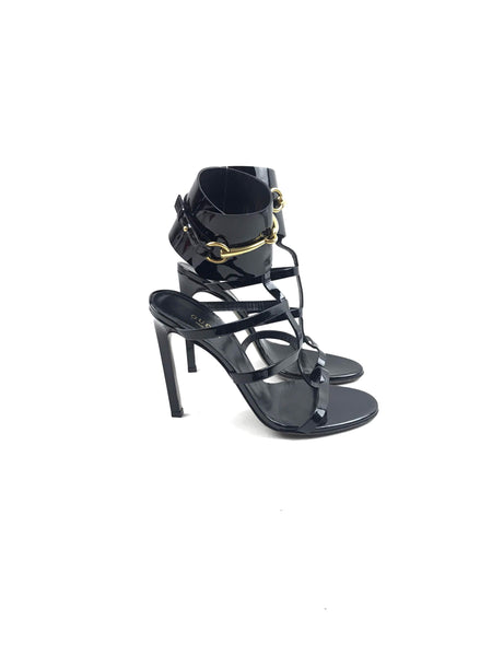 Black Patent Leather Caged Heeled Sandals W/ GHW