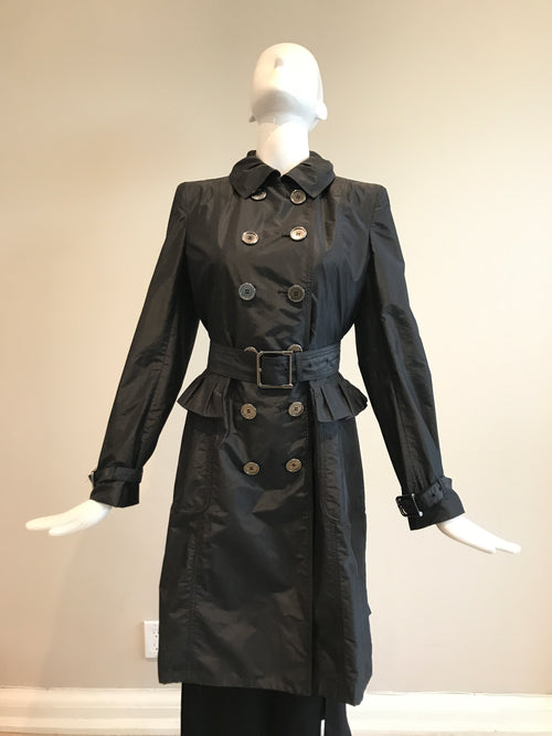 London Black Nylon Double Breasted Peplum Accent Trench Coat
