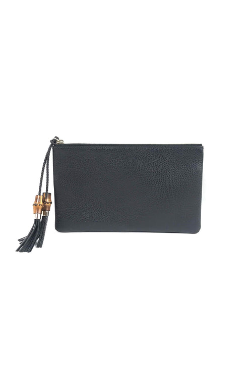 Black grained Leather Clutch W/ Bamboo Tassel