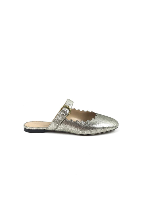 Crackled Metallic Leather Lauren Scallop Mules W/ GHW