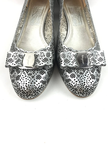 Silver Cutout Leather Vara Low-Heel Pumps