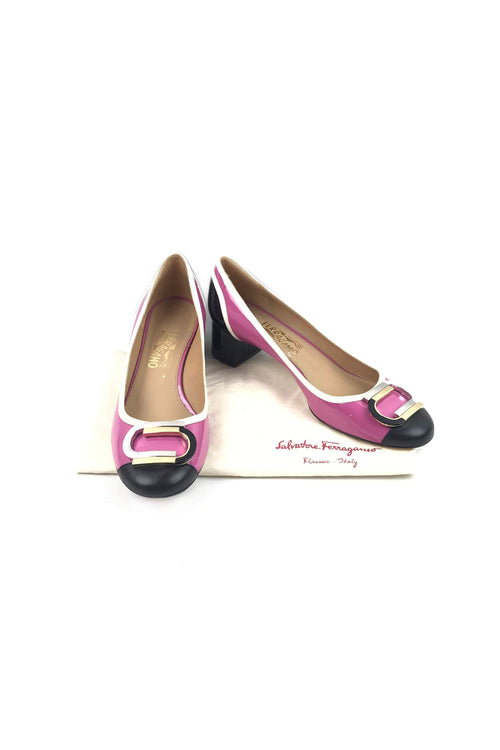 Black/Pink Patent Leather Low-Heel Pumps