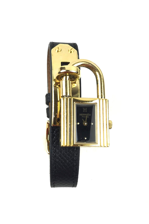 Black Epsom Leather Yellow-Gold Plated Kelly Watch W/ Black Dial - Haute Classics