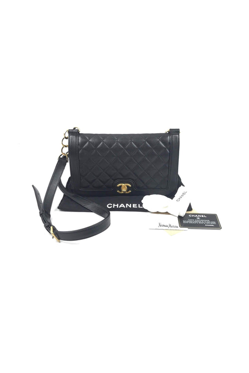 Black Calfskin Quilted Flap Bag W/ GHW