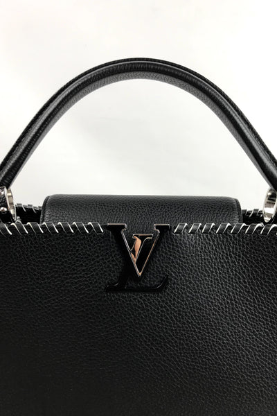 Black Taurillon Leather Braided Accent Capucines MM