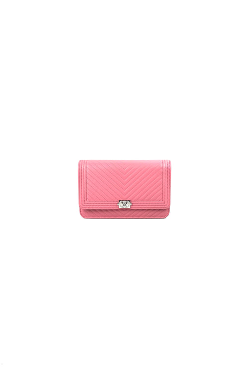 Pink Calfskin Chevron Quilted Boy Wallet On Chain WOC W/ SHW