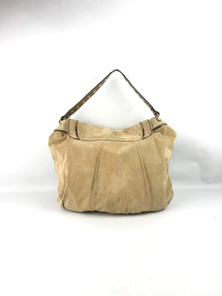 Beige Suede Irina Large Shoulder Bag W/ GHW