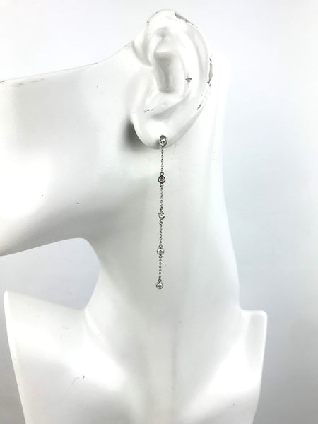 Elsa Perreti Platinum Diamonds By The Yard Drop Earrings