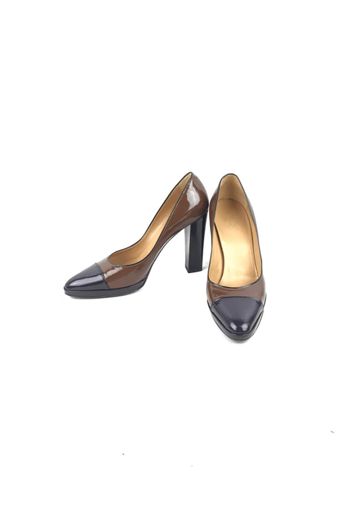 Brown/Purple Patent Leather Pumps