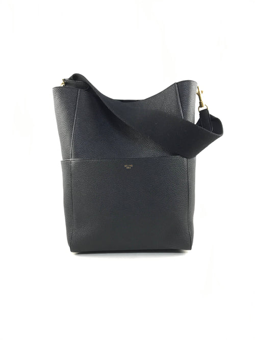 Black Grained Leather Tote Bucket Bag W/GHW