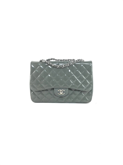 Grey Quilted Patent Leather Jumbo Single Flap W/SHW