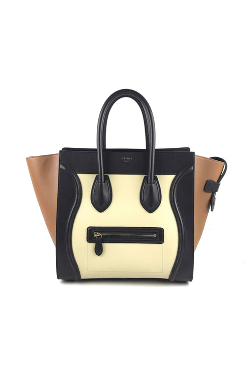 Tri-Color Smooth Calfskin Luggage Mini Tote Bag