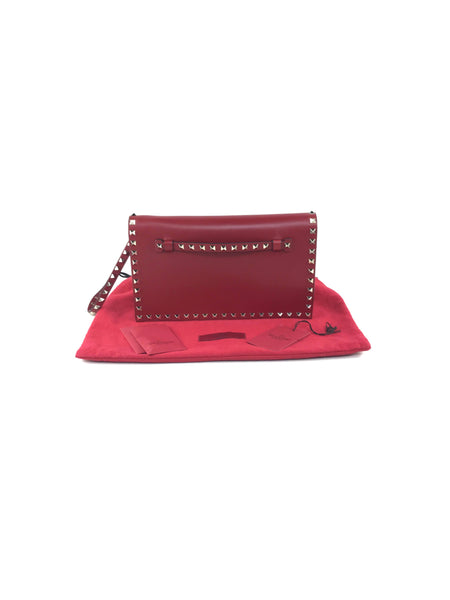 Red Smooth Leather Rockstud Envelope Clutch W/GHW