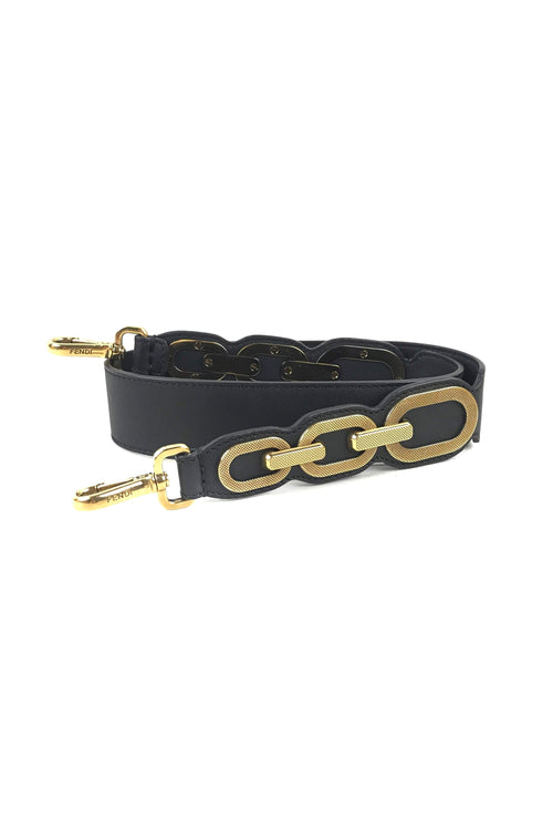 Black Calfskin Karl Loves Fendi Strap You Bag Strap
