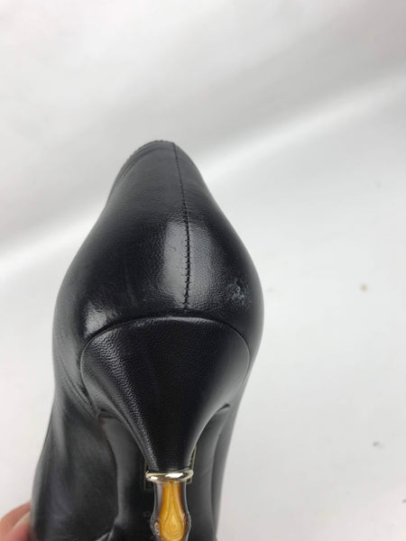 Black Leather Bamboo Heel Rounded Toe Pumps