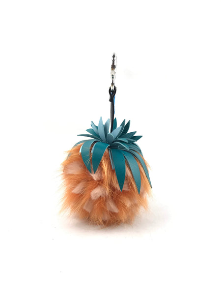 Peach Fox Fur/Teal Leather Strawberry Key Charm W/ SHW