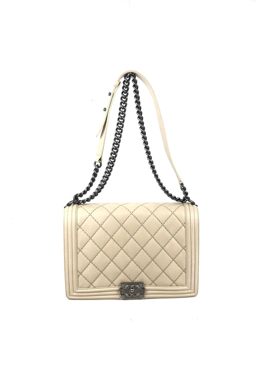 fd36aab4bfa618 Beige Double Stitch Quilted Large Boy Bag W/ RHW - Haute Classics