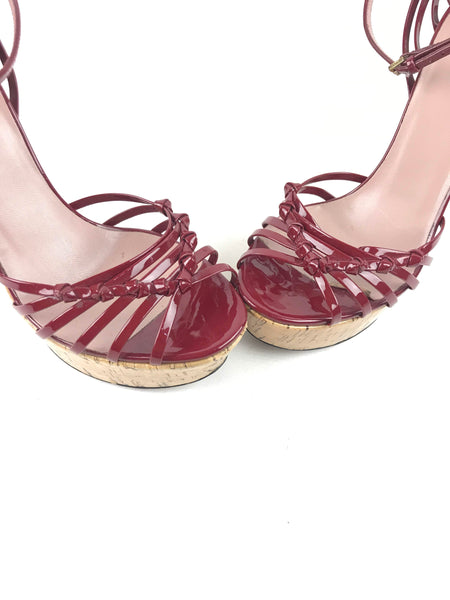 Red Patent Leather Strappy Cork Wedges W/ GHW