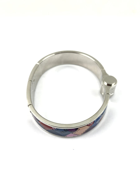 Red/Blue/Purple Checkered Enamel Hinged Bracelet