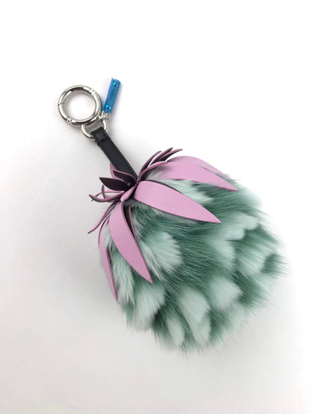 Light Green Fox Fur & Pink Leather Small Strawberry Bag Charm