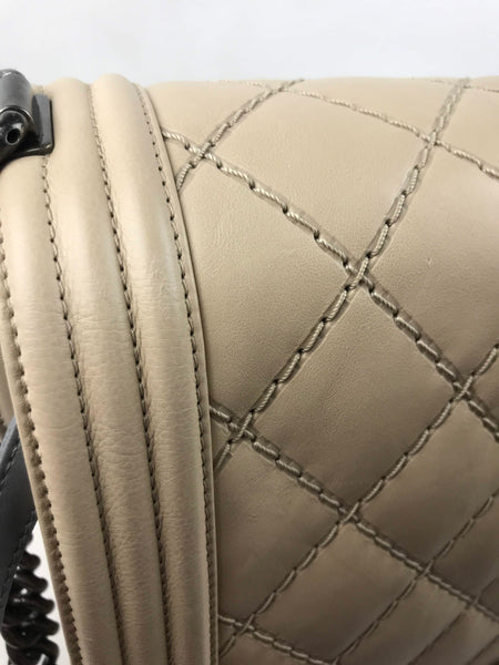 Beige Double Stitch Quilted Large Boy Bag W/ RHW - Haute Classics