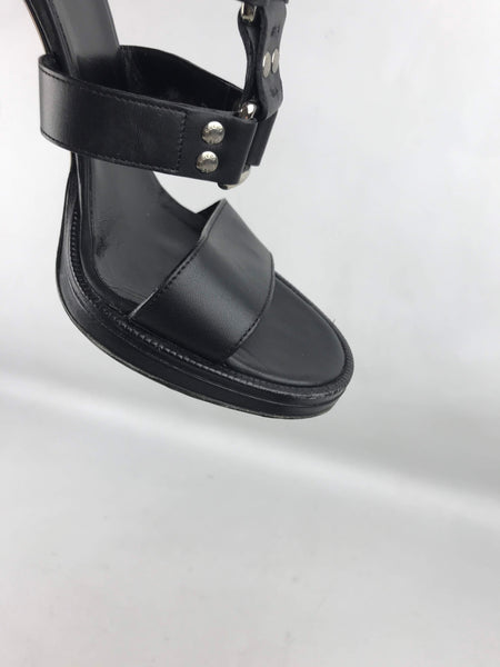 Black Leather Strappy Sandals W/ SHW Buckles