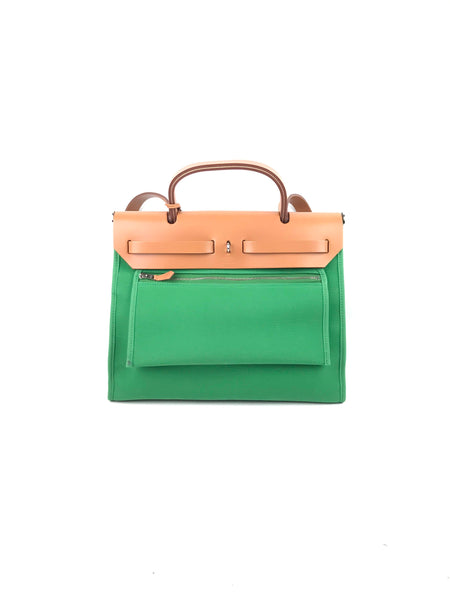 Green Canvas/Tan Leather Herbag Zip 31