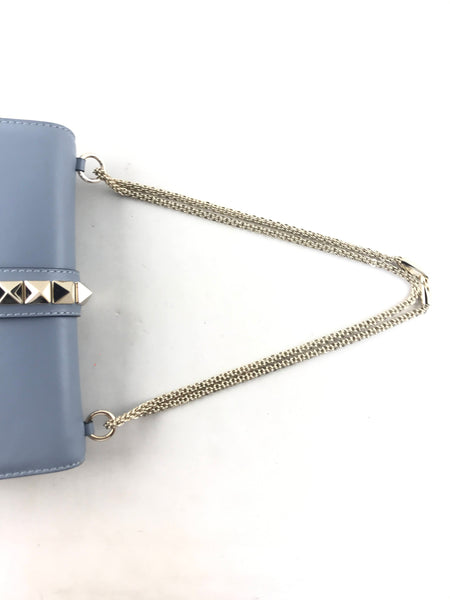 Medium Light Blue Glam Lock Bag w/rockstuds and chain w/SHW
