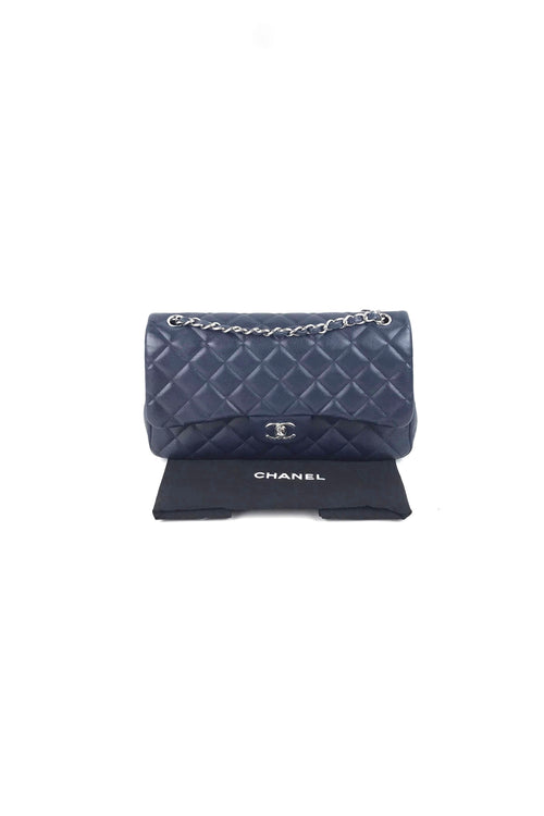 075498fa8c19 Navy Caviar Jumbo Double Flap Bag W/ SHW