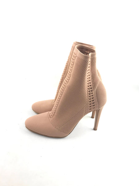 Camel Perforated Stretch-Knit Ankle Boots