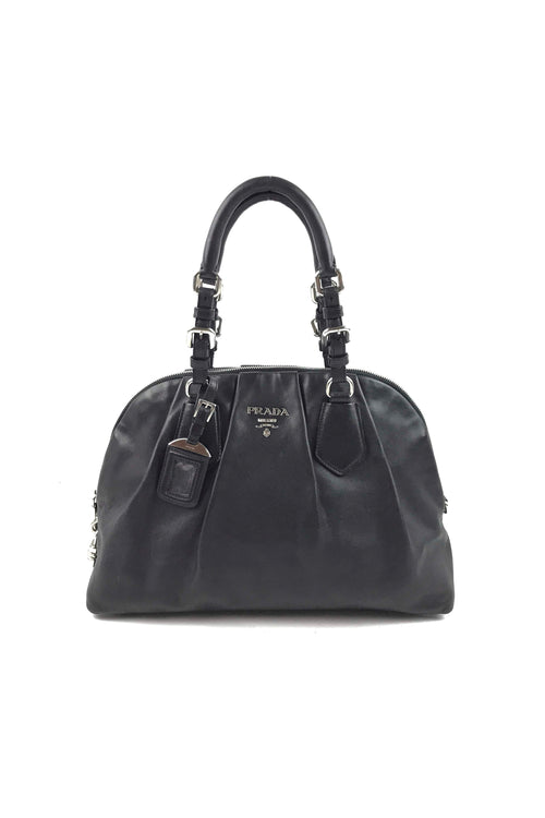 Black Smooth Calfskin Bowler Tote W/ SHW