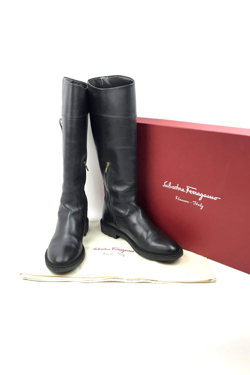 Black Riding Boots w/ Logo Accent