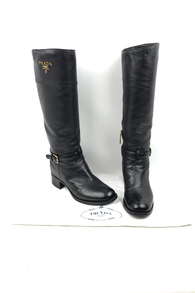 Pebbled Leather Calf-Length Riding Boots w/ Buckle Accent w/ GHW