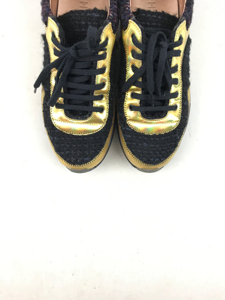 Black/Navy/Burgundy/Gold Sneakers