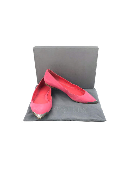 Pink Suede Metal Pointed Toe Cap Flats