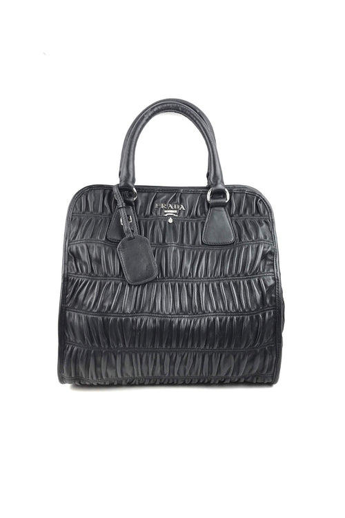 Black Nappa Gauffre Leather Bag W/ SHW - Haute Classics