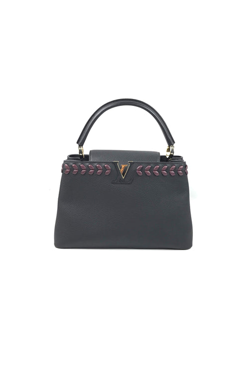 Black Taurillon Leather W/ Burgundy Weaving Capucines MM