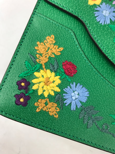 Green Leather Floral/Mystic Cat Embroidered Small  Shoulder Bag W/GHW