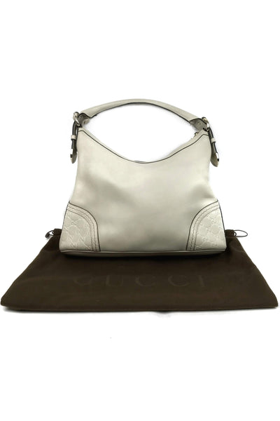 Cream White Leather Guccissima Signora Hobo Bag